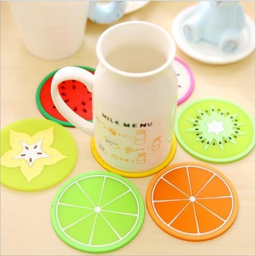 Mini Style繽紛果凍色水果造型杯墊矽膠隔熱墊杯墊茶杯墊廚房辦公室書桌