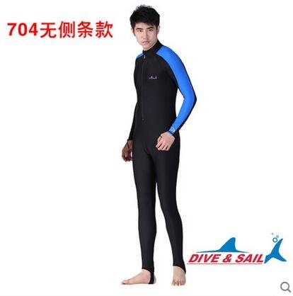 特價全身長袖連體泳衣馬爾代夫防曬冬泳浮潛服防水母衣男女潛水服(黑藍無胸墊)