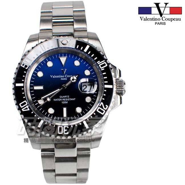 valentino coupeau范倫鐵諾夜光時刻不鏽鋼防水手錶男錶漸層面盤潛水錶水鬼石英錶V61589漸層藍
