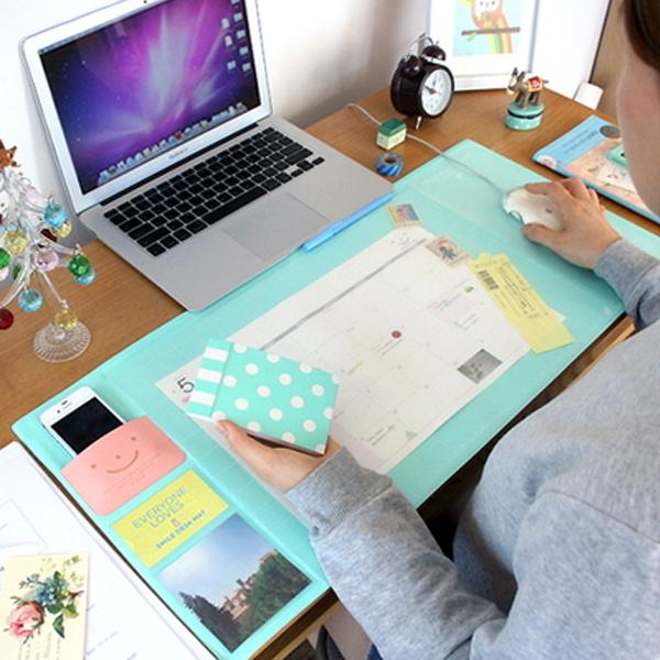 韓系素色 滑鼠墊 辦公室桌墊 辦公桌墊 多功能 大滑鼠墊 大桌墊 多夾層 收納墊