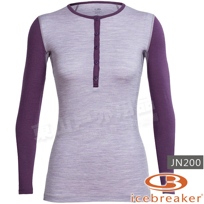 Icebreaker 103893-501灰紫深紫女羊毛亨利領長袖T恤Crush美麗諾保暖衣快乾機能服排汗透氣衫