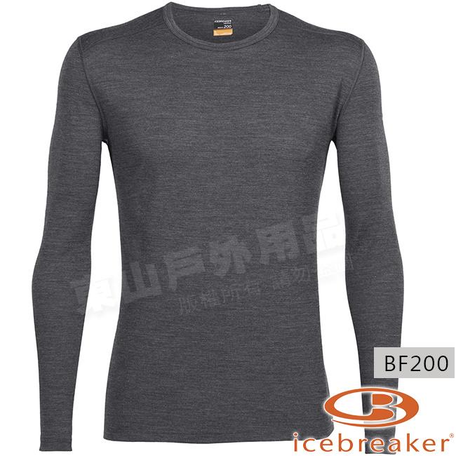 Icebreaker 100476-008砂岩灰男羊毛圓領保暖衣Oasis美麗諾控溫長袖休閒上衣排汗快乾機能服