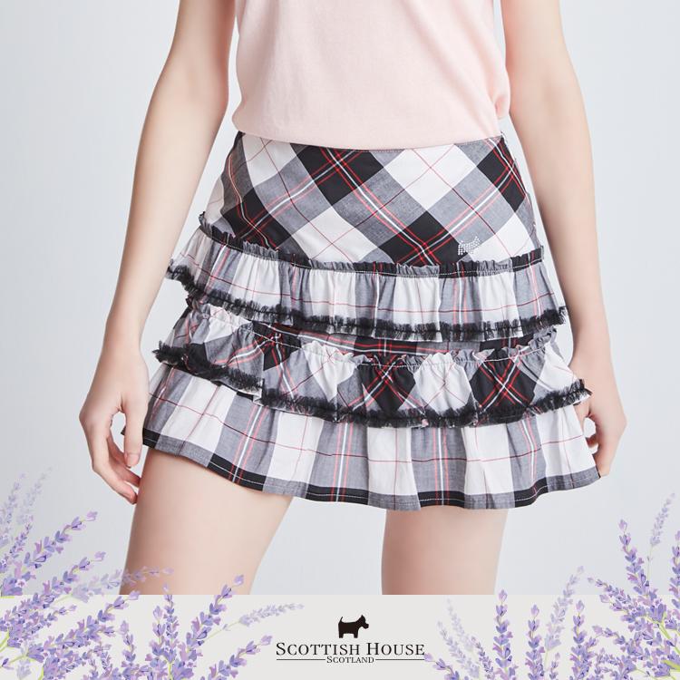 抽細網格子蛋糕短裙 Scottish House【AI2106】