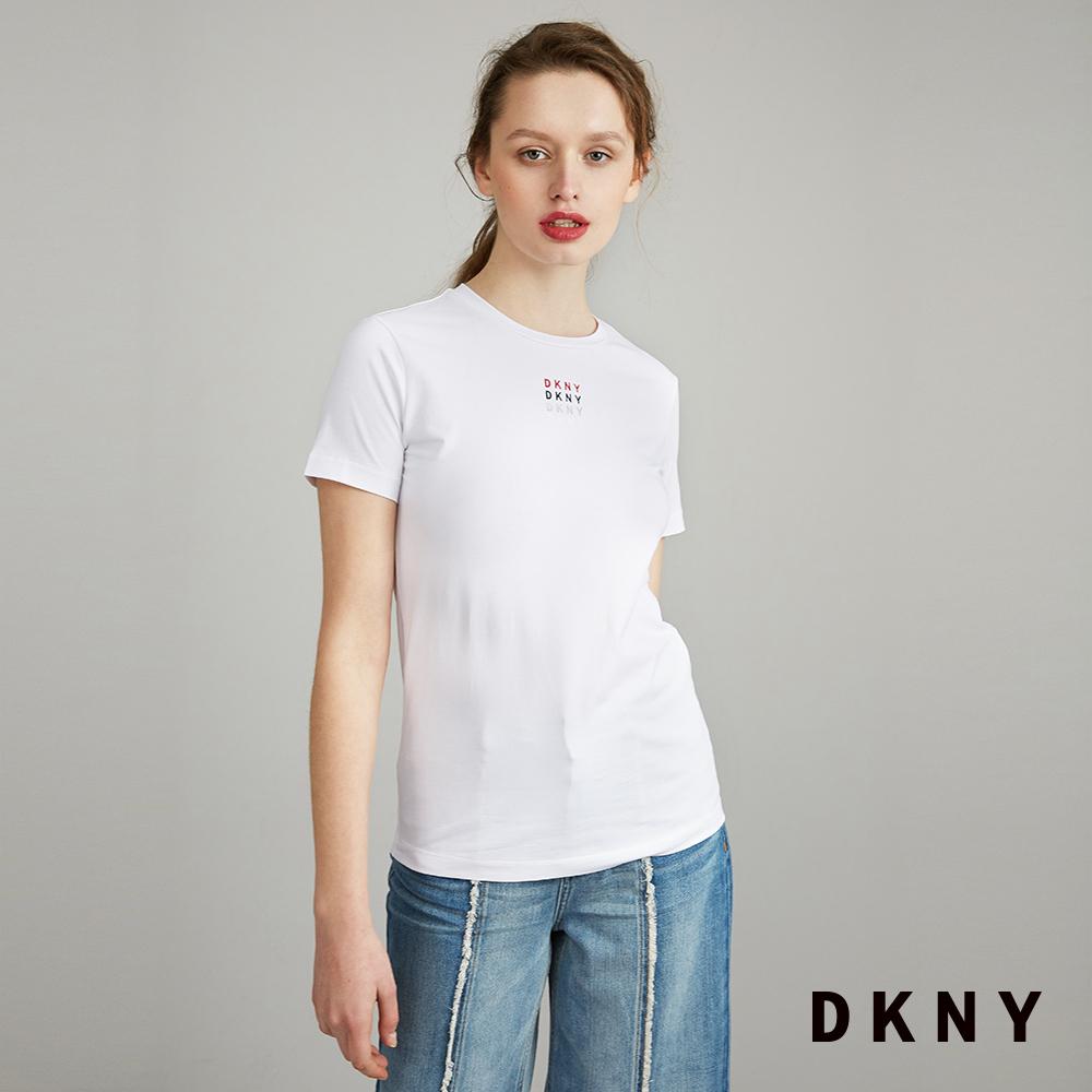 DKNY 女 短袖T恤 彩虹LOGO 白