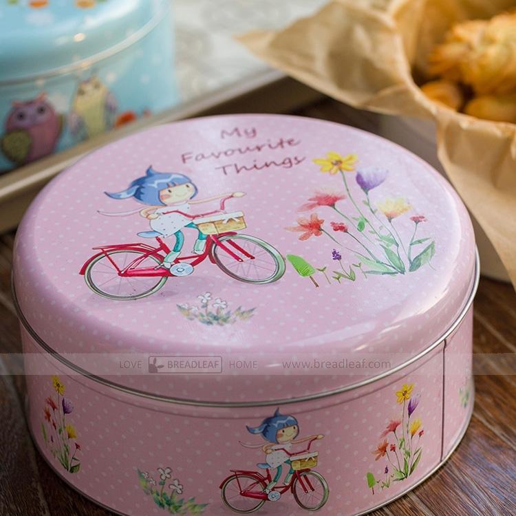 Breadleaf 單車少女 16cm餅乾鐵盒 圓桶盒 收納盒