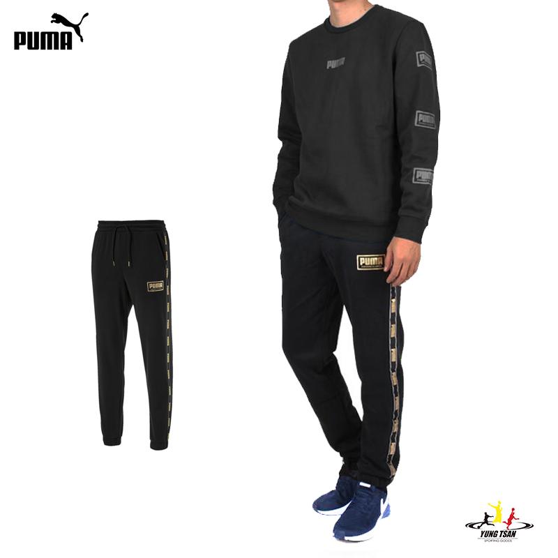 Puma Holiday 男 黑金 運動長褲 棉褲 運動 健身 側邊logo 休閒 刷毛 長褲 雙口袋 縮口褲 58185201