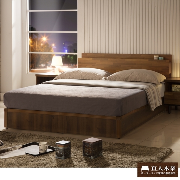 日本收納美學房間組集層木3.5尺單人床頭加床底加獨立筒床墊三件組~便利收納功能