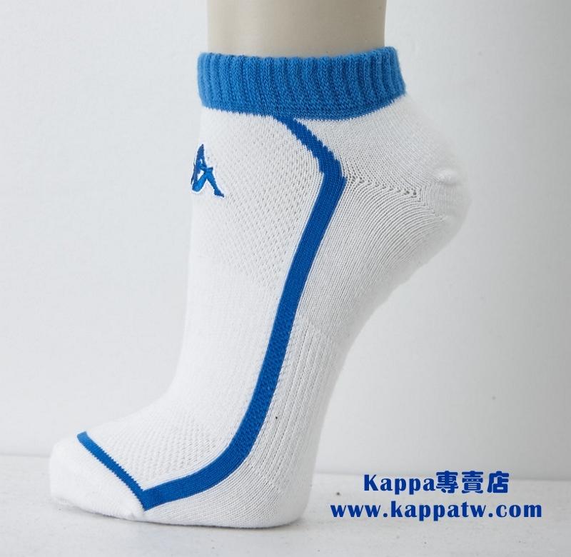 Kappa男生踝襪-白珊瑚藍薄底SM62-M228-0