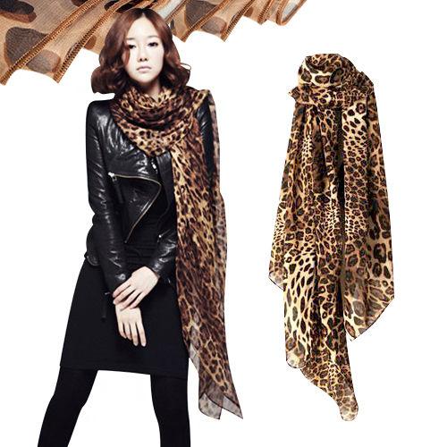 豹紋絲巾 空調披肩 圍巾【省錢博士】絨雪紡長款兩用超長紗巾