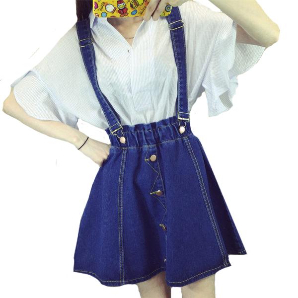 可拆式肩帶牛仔排扣鬆緊腰吊帶裙 11740010