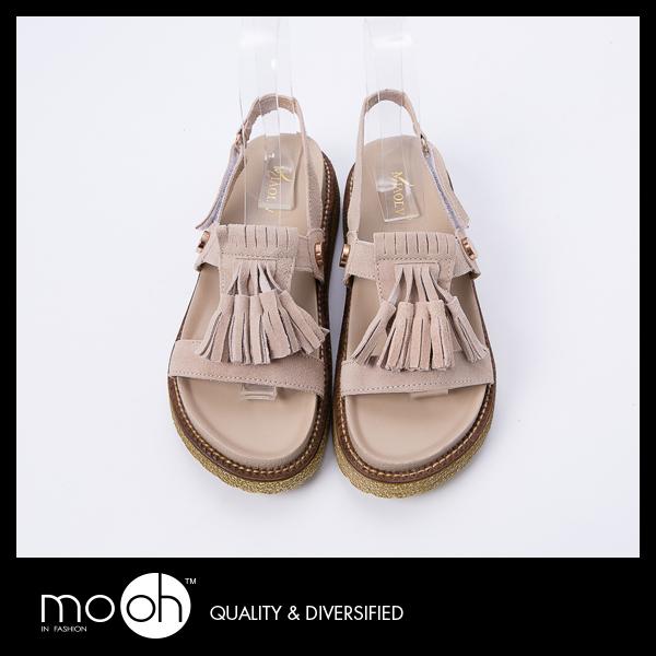 24hr出貨真皮流蘇魔鬼氈鉚釘厚底涼鞋拚色舒適質感厚底拖鞋mo.oh歐美鞋款