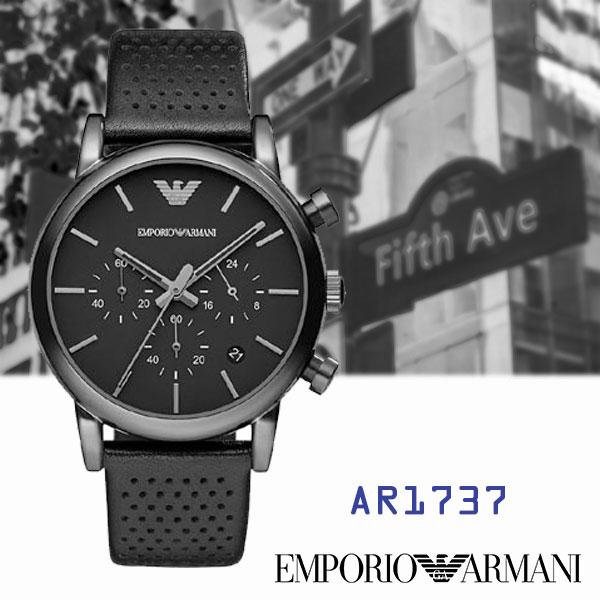 ARMANI亞曼尼 全黑鷹翅LOGO無刻度三眼碼表計時皮帶男錶x42mm黑・AR1737