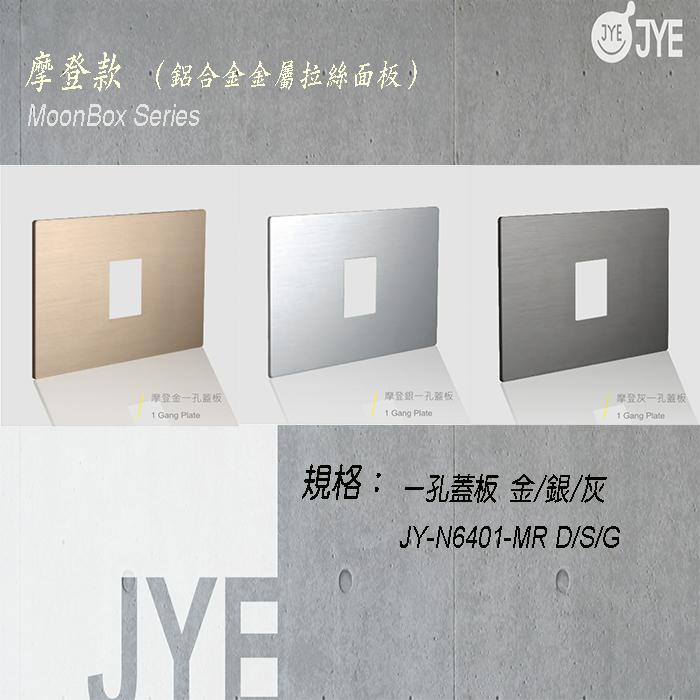 中ㄧ 月光系列 摩登款開關切面板- ㄧ孔蓋板 銀/灰/金 JY-N6401-MR