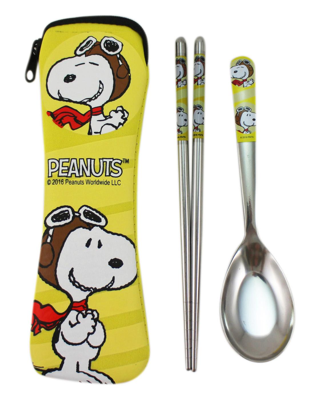 卡漫城Snoopy兒童湯匙筷子餐具組黃版304不鏽鋼史努比史奴比潛水布套餐具湯筷組