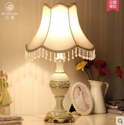 泊盛歐式臺燈結婚調光間約美式創意時尚臥室床頭臺燈奢華U6