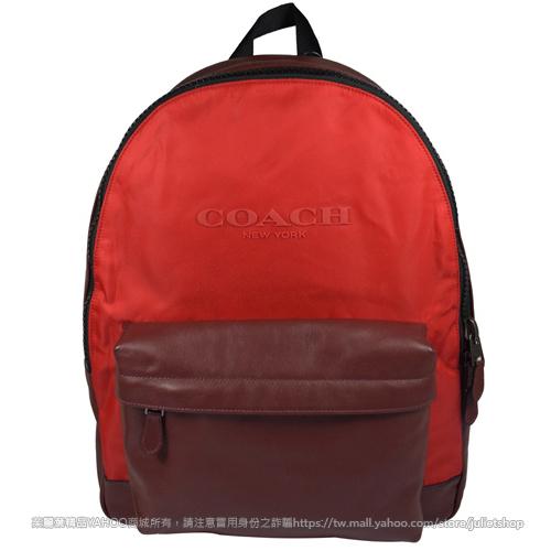 茱麗葉精品全新現貨89折COACH 59321經典LOGO撞色皮革帆布拼接後背包.暗紅紅