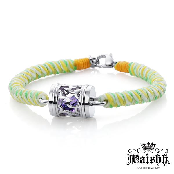 Waishh玩飾不恭深情印記-男款幸運誕生石珠寶白鋼蠶絲蠟繩手鍊附贈一顆誕生石單鍊價