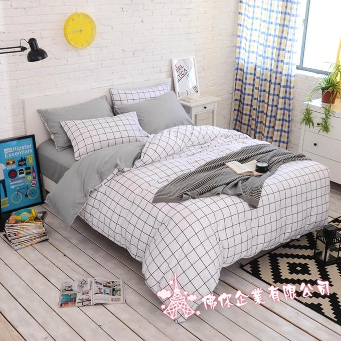 雙人床包組冷灰標準雙人北歐簡約風純棉床包雙人枕套被套床包ikea床單佛你企業