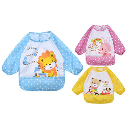 可愛動物塗鴉寶寶防水圍兜罩衣 吃飯衣 全身罩衣 兒童工作服