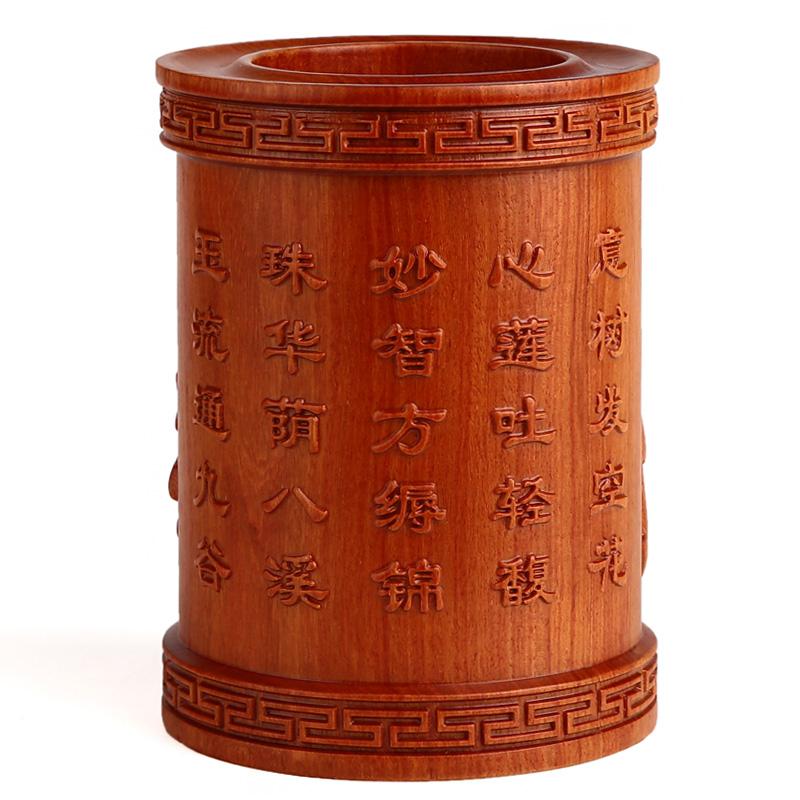 [超豐國際]紅木筆筒工藝品擺件 木雕刻實木酸枝木質 五子奪蓮1入