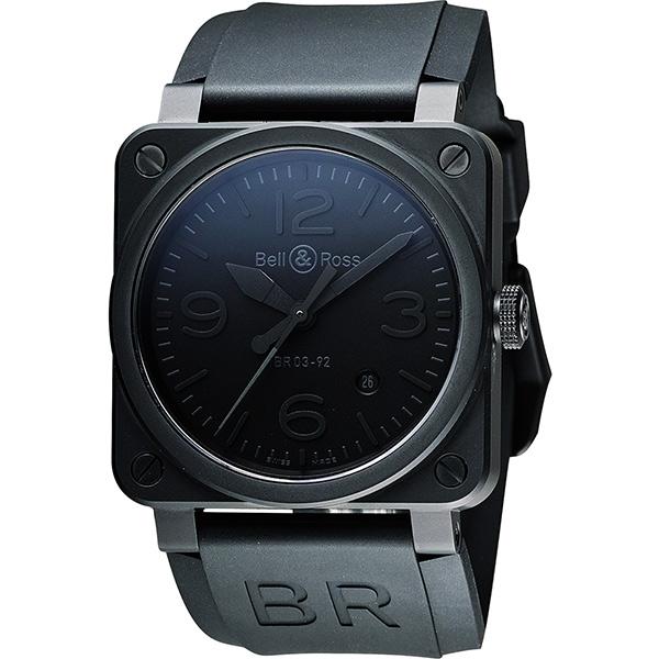 Bell & Ross Aviation 軍事飛行陶瓷機械腕錶-黑時標/42mm BR0392-PHA-CE