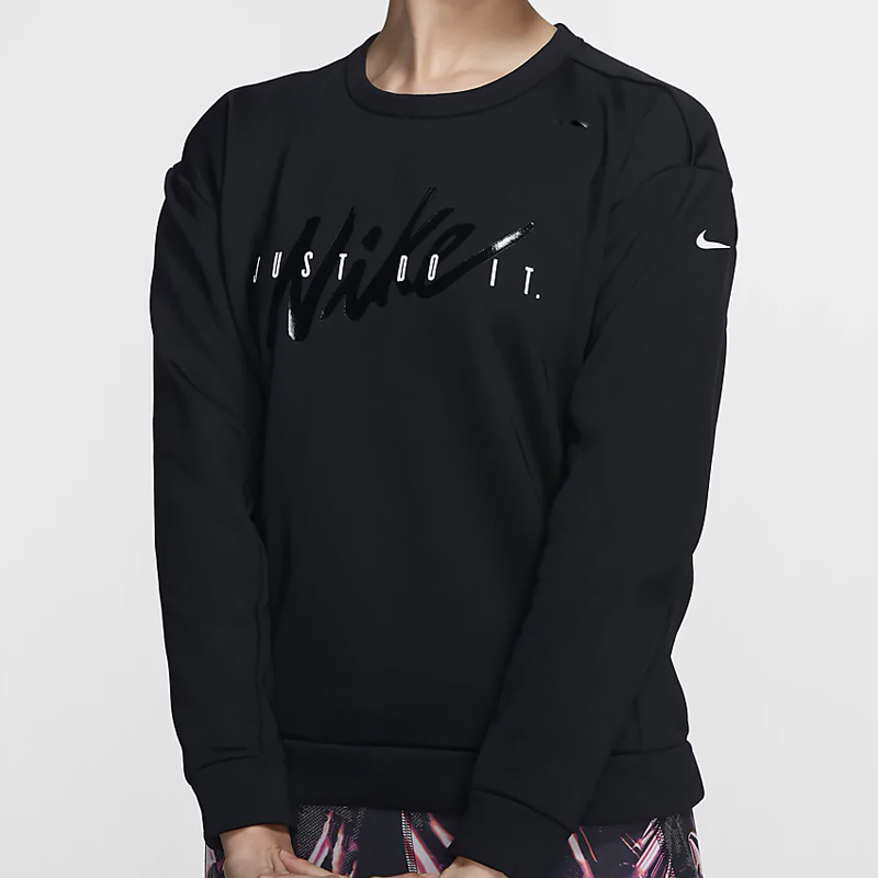 Nike THERMA 女裝 長袖 休閒 大學T 基本 刷毛 黑【運動世界】BV5226-010
