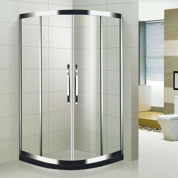 麗室衛浴橫拉式304鏡面不銹鋼圓弧淋浴拉門90*90*190CM以內