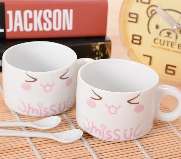 可愛卡通小貓對杯陶瓷情侶對杯子牛奶早餐杯畢業禮物送同學老師隨機出貨預購CH222