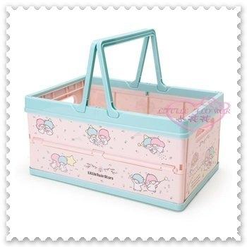 小花花日本精品雙子星kikilala粉藍色星星夢幻滿版圖可疊高折疊收納提籃玩具藍12034703
