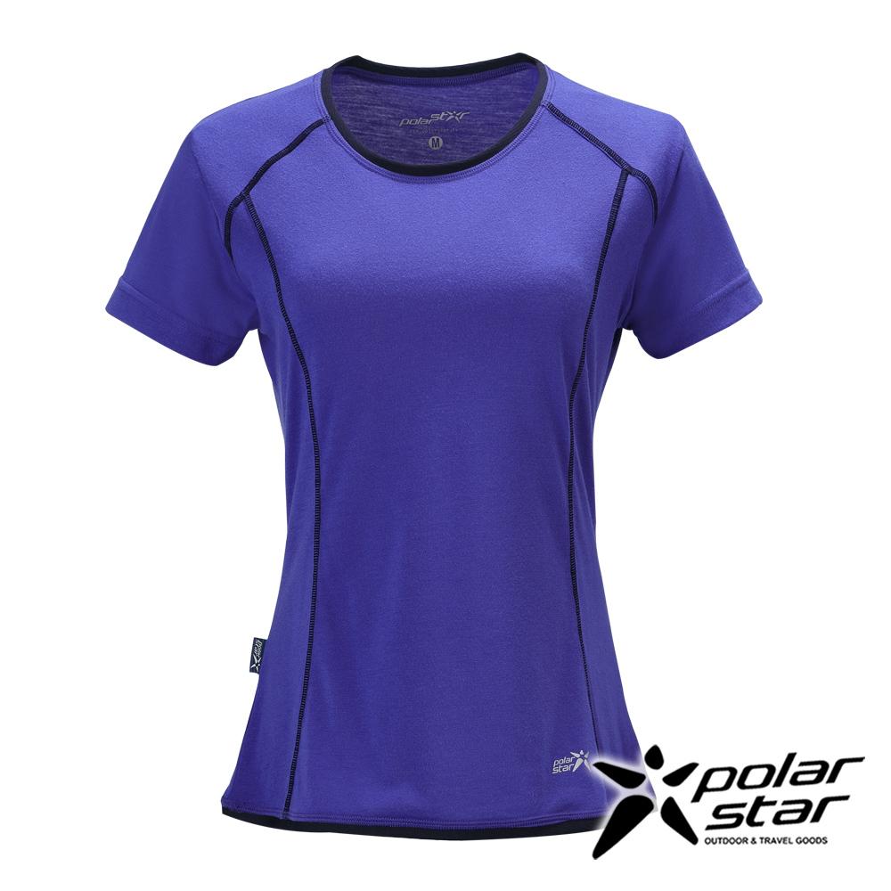 PolarStar 女 排汗快乾圓領T恤『藍紫』P17132 吸濕排汗│瑜珈休閒服│短袖透氣運動服│慢跑路跑