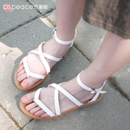 羅馬涼鞋-peace衣著館-MIT交叉夾腳羅馬涼鞋白色