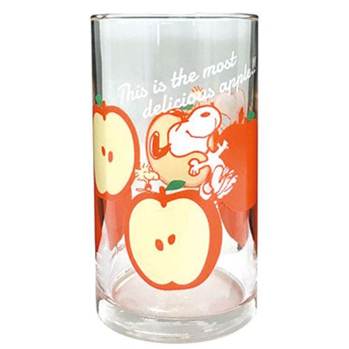 大西賢SNOOPY日本製沁涼水果圖案透明玻璃杯蘋果OS76028