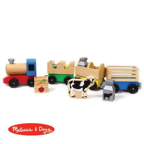 美國瑪莉莎Melissa Doug交通工具木製農場聯結火車組