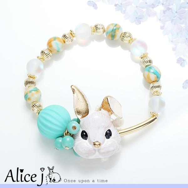 韓國空運童趣珠珠愛麗絲兔子手環