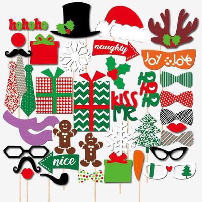聖誕節派對創意拍照道具聖誕老公公聖誕老人聖誕樹造型面具館長推薦