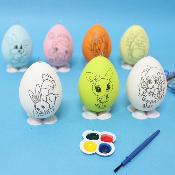 DIY彩繪蛋動物卡通彩繪蛋附顏料大一個入定20復活節彩蛋~YF7090可吊式空心塑料