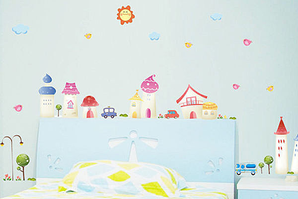 創意可移動壁貼牆貼背景貼磁磚貼壁貼花時尚壁貼璧貼卡通小鎮YV2106 BO雜貨