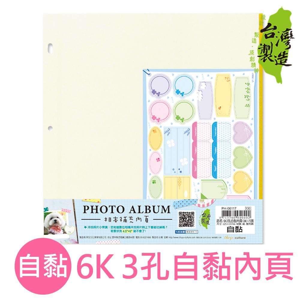 珠友 PH-06117 6K3孔自黏內頁/相本內頁/補充內頁(米)/5張