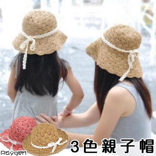 親子帽子韓版鉤針草帽大簷帽沙灘帽遮陽帽大沿帽手工編織可折疊