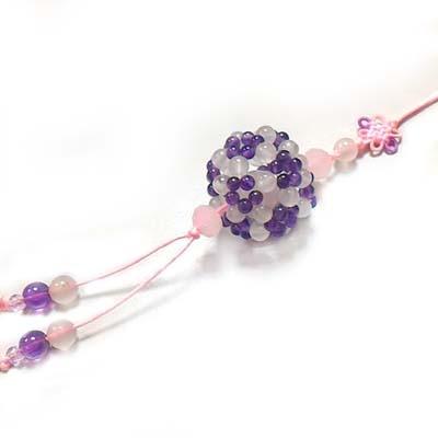 紫晶粉晶彩球中國結吊飾