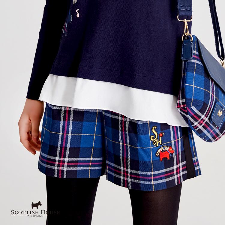 兩側配布及品牌logo織標格紋短褲 Scottish House【AH2205】