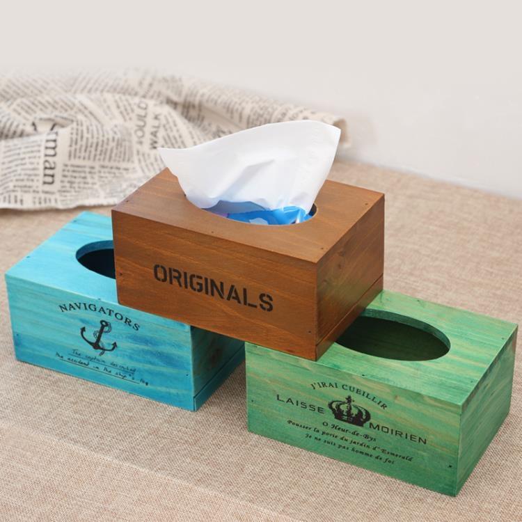 超豐國際zakka木制家用紙巾盒抽紙盒客廳桌面收納餐巾1入