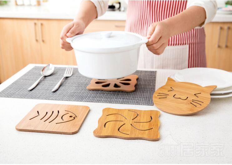 【TT336】居家家 木質卡通隔熱墊餐桌墊防滑鍋墊 創意可愛茶杯墊子碗墊杯墊