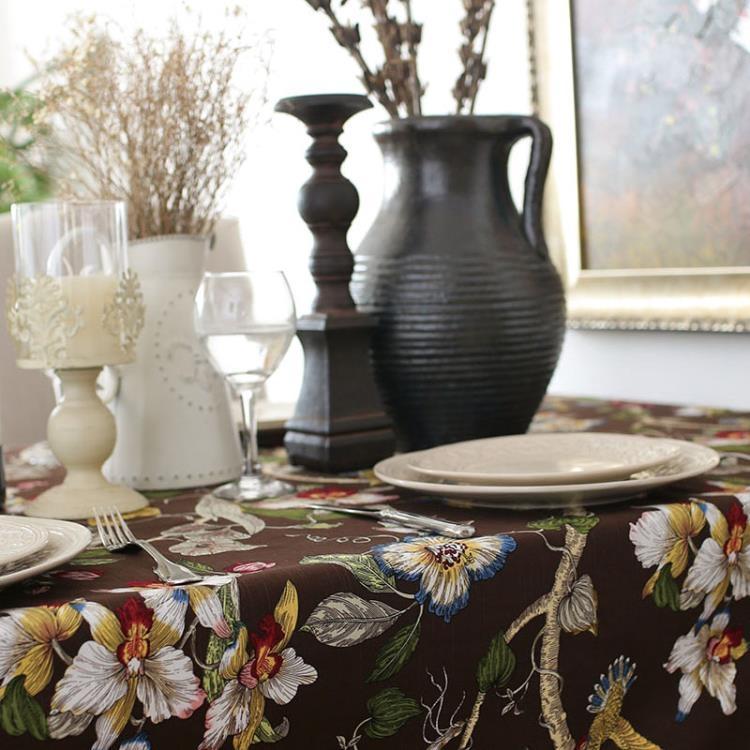 [超豐國際]鄉村風樹枝花咖啡色竹節棉布藝餐桌蓋布茶幾布書桌布1入