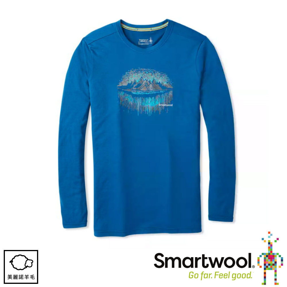 【SmartWool 美國 男 Merino Sport 150塗鴉長袖T恤《森林極光/靛藍》】SW019021/圓領T恤
