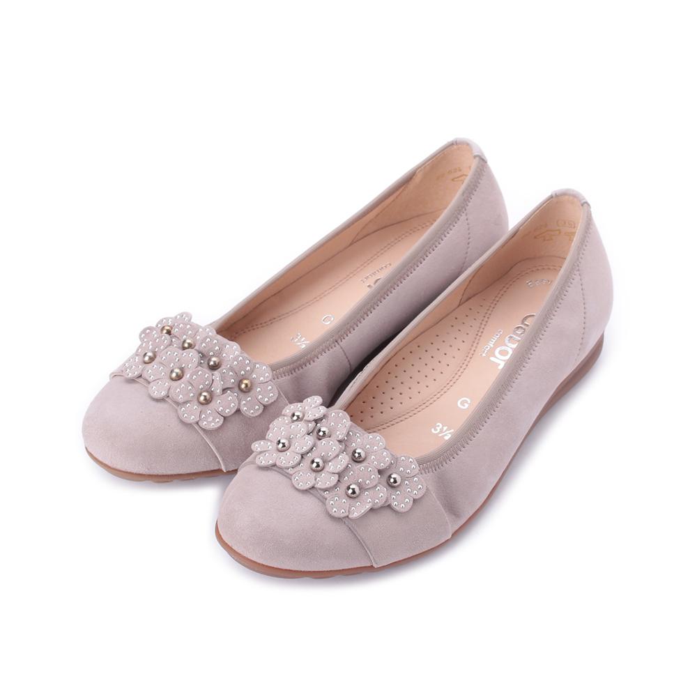 德國 GABOR 反毛花朵滾珠平底鞋 粉 22.624.12 女鞋