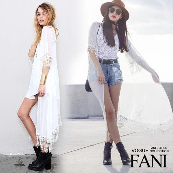 方妮FaNi韓國韓版長版雪紡流蘇外套罩衫披肩沙灘大尺碼洋裝孕婦可內搭褲襪海灘褲
