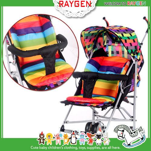 加厚防水雙面彩虹條紋嬰兒手推車棉墊 餐椅