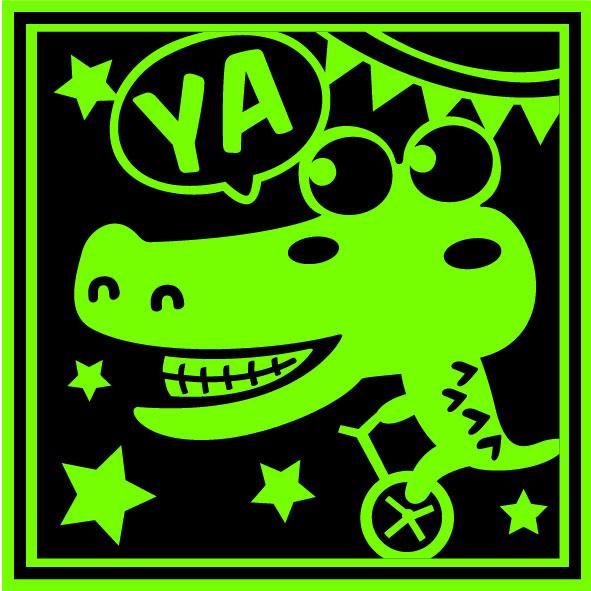 夜光貼紙鱷魚騎單車壁貼夜光貼紙防水貼紙汽機車貼紙10cm x 10cm