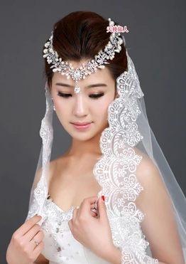 新娘頭紗國色傾城超長新款300cm結婚頭紗 蕾絲花邊婚紗頭紗禮服配飾-103630030